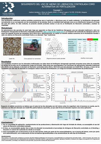 Seguimiento del uso de abono de liberación controlada como alternativa de fertilización. Causapé, J - XIII Jornadas de Investigación de la Zona No Saturada (2017).